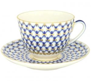 Lomonosov Imperial Porcelain Tea Set Cup and Saucer Spring Cobalt Net 7.8 oz/230 ml