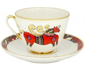 Lomonosov Imperial Porcelain Tea Set Cup and Saucer Spring Red Horse 7.8 oz/230 ml