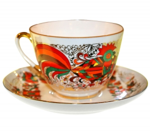 Lomonosov Imperial Porcelain Tea Set Cup and Saucer Spring Red Rooster 7.8 oz/230 ml