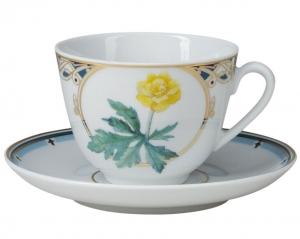 Lomonosov Imperial Porcelain Tea Set Cup and Saucer Spring Trollius 7.8 oz/230ml