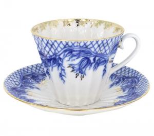 Lomonosov Imperial Porcelain Cup and Saucer Radiant Tenderness 7.95 oz/235 ml