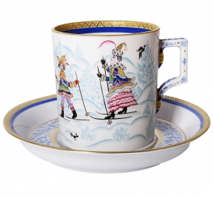 Lomonosov Imperial Porcelain Tea Set Cup and Saucer Winter Fun 7.4 oz/220 ml