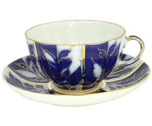 Tea Set Cup and Saucer winter night Lomonosov Imperial Porcelain