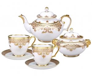 Lomonosov Imperial Porcelain Tea Set Rococo Alexander III 14 items