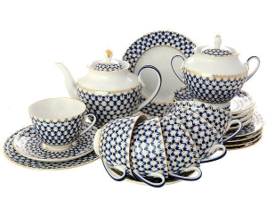 Lomonosov Imperial Porcelain Tea Set Spring Cobalt Net 6/20