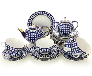 Lomonosov Imperial Porcelain Tea Set Tulip Cobalt Cell 6/21