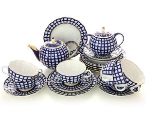 Lomonosov Imperial Porcelain Tea Set Tulip Cobalt Cell 6/21