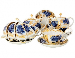 Lomonosov Imperial Porcelain Tea Set Tulip Golden Garden 6/21