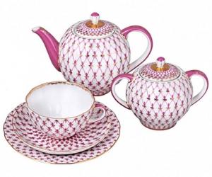 Lomonosov Imperial Porcelain Tea Set Tulip Red Net Blues 6/20