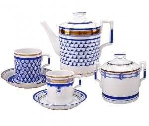 Lomonosov Imperial Porcelain Tea Set White Sea Waves 6/20