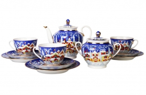Lomonosov Imperial Porcelain Tea Set Winter Fairytale 6/20