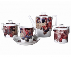 Lomonosov Imperial Porcelain Tea Set Winter 6/15