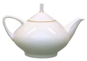 Lomonosov Imperial Porcelain Bone China Tea Pot Dome Golden Ribbon 47.3 fl.oz/1400 ml