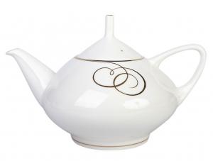Lomonosov Imperial Porcelain Bone China Tea Pot Dome Golden Curls 47.3 fl.oz/1400 ml