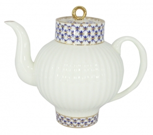 Lomonosov Imperial Porcelain Bone China Tea Pot Wave Cobalt Net 27 fl.oz/800 ml