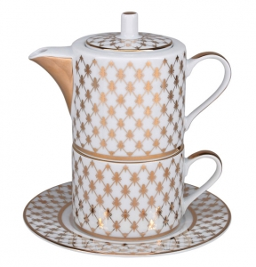 Lomonosov Porcelain Gift Set Solo Teapot and Tea Cup Jazz Gold Net