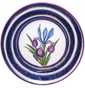 Decorative Wall Plate Iris Flower 9.4