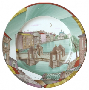 Decorative Wall Plate White Night Fontanka riv. St.Petersburg 10.4