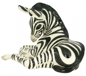 Zebra Relaxing Lomonosov Imperial Porcelain Figurine