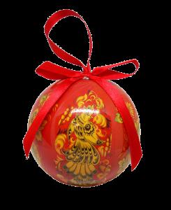 Christmas New Year Tree Decorative Ball Red Khokhloma