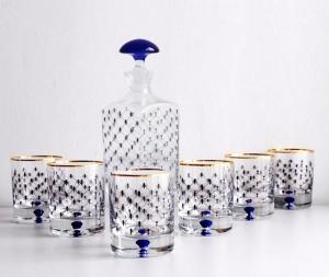 Lomonosov Glass Decanter and 6 Whiskey Lowball Glasses Set Cobalt Net