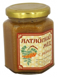 Eco Organic Natural Russian Siberian Honey with Rowanberry