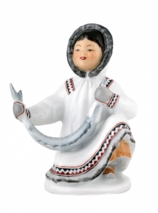 Lomonosov Porcelain Eskimo Girl With Sturgeon