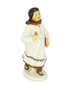 Eskimo Girl with Flower Lomonosov Imperial Porcelain Figurine