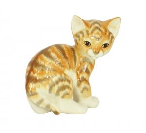Cat Kitty Red Striped Lomonosov Imperial Porcelain Figurine