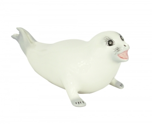Imperial Porcelain Porcelain Figurine White Baby Seal Rup