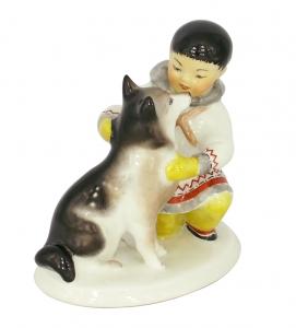 Eskimo Boy With Husky Dog Lomonosov Imperial Porcelain Figurine