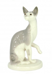Cat Sphinx Grey Lomonosov Imperial Porcelain Figurine