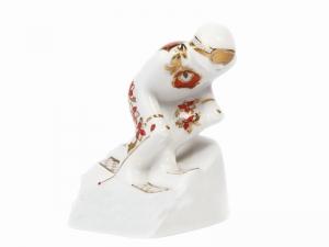 Russian Porcelain Porcelain Figurine Winter Sport Mountain Skier Red and Golden Uniform