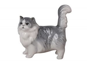 Persian Cat Gray Lomonosov Porcelain Figurine