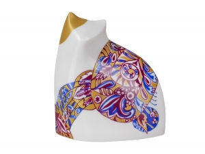 Stylized Cat Walking Lomonosov Porcelain Figurine