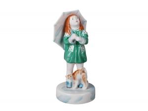 Girl with Umbrella and Cat Lomonosov Porcelain Sculpture Figurine