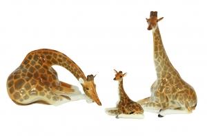 Giraffe Family Figurine Set 3 items Lomonosov Porcelain Factory