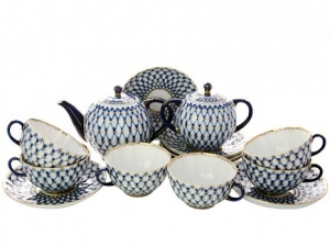 Lomonosov Imperial Porcelain Tulip Cobalt Net Tea Set 6/15