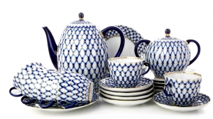 Lomonosov Imperial Porcelain Espresso/Coffee Set Tulip Cobalt Net 15 pc for 6 persons