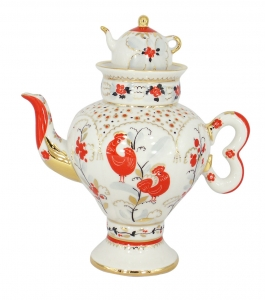 Lomonosov Imperial Porcelain Tea Pot Folk Motifs 16.23 oz/480 ml