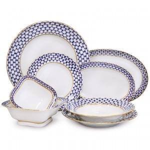 Lomonosov Porcelain Dinner Set Youth Cobalt Net 24-pieces