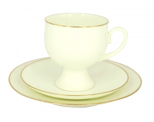 Lomonosov Bone China Coffee Set Gold Edging Cup 5,41 oz/160 ml 3pc