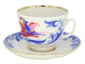 Lomonosov Imperial Porcelain Tea Set Cup and Saucer Gift Winter Troika 12.7 oz/375 ml