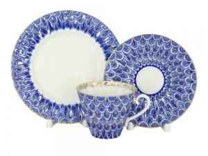 Lomonosov Imperial Porcelain Tea Set 3pc Radiant Forget Me Not 7.9 oz/235ml