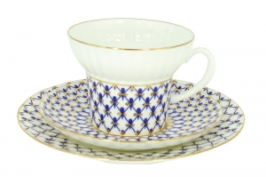 Imperial Lomonosov Porcelain Bone China Tea Set Wave Cobalt Net  5.24 fl.oz/155ml 3pc