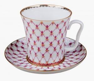 Russian Porcelain Porcelain Mug and Saucer Leningradskii Red Net 12.2 fl.oz/360 ml