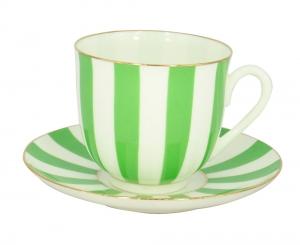 Lomonosov Porcelain Yes and No GREEN Bone China Espresso Coffee Cup and Saucer 6 oz/180 ml