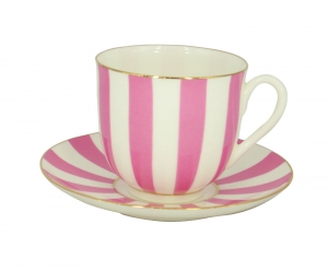 Lomonosov Porcelain Yes and No PINK Bone China Espresso Coffee Cup and Saucer 6 oz/180 ml