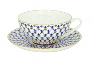 Lomonosov Imperial Bone China Tea Set Dome Cobalt Net 10 oz/300 ml