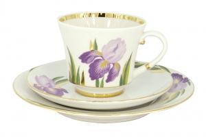 Lomonosov Porcelain Tea Set 3 pc Banquet Iris 7.4 oz/220 ml